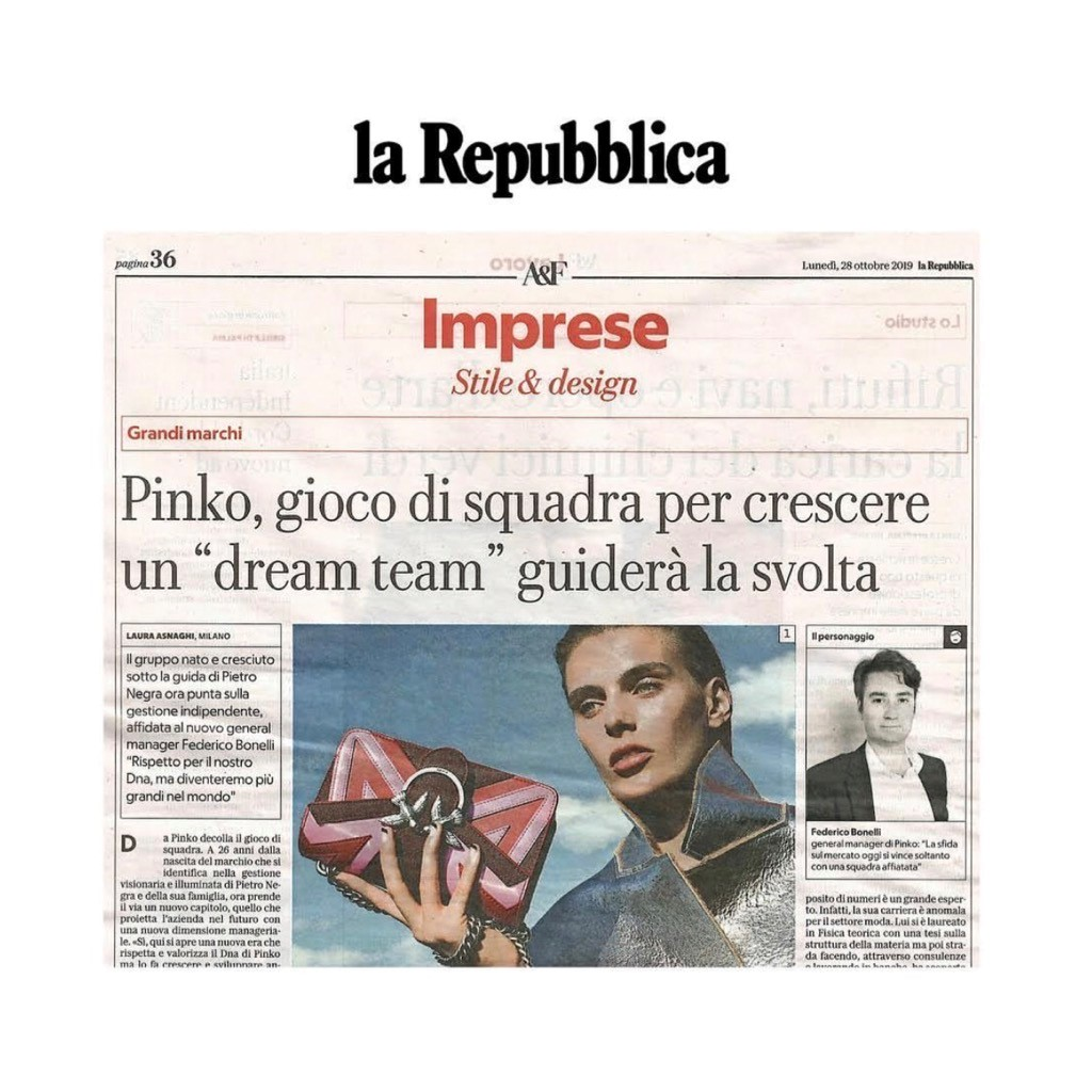 PINKO ON LA REPUBBLICA - OCTOBER 2019