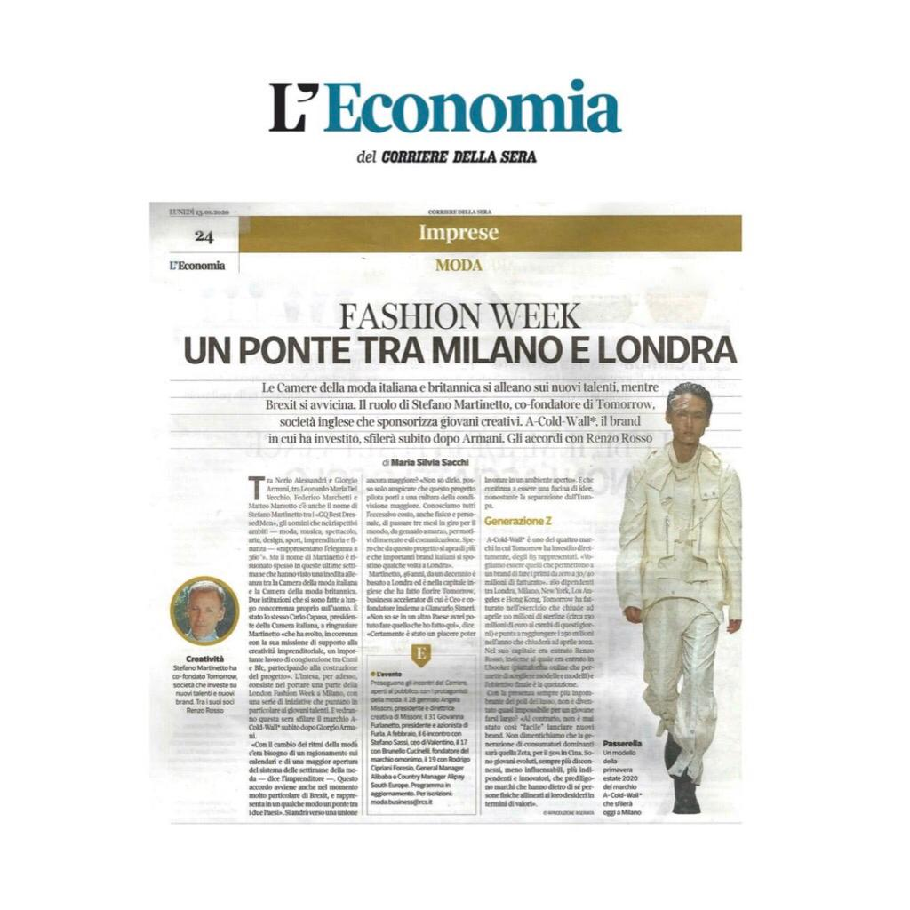 STEFANO MARTINETTO, CEO of Tomorrow, on CORRIERE DELLA SERA - January 2020